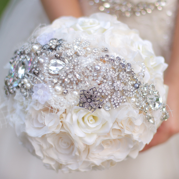 Wedding Brooch Bouquet Nz : Ivory silver bridal brooch bouquet simulation rose
