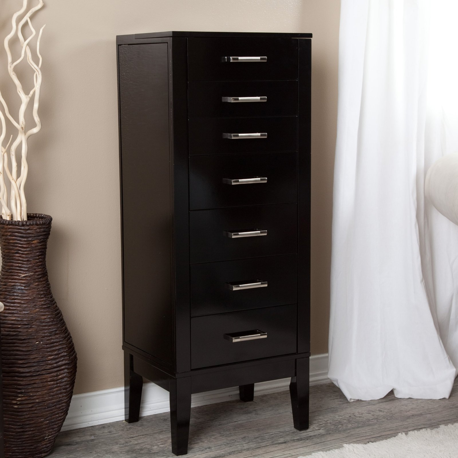 standing jewelry armoire black necklace ring wood storage organizer tall chest multi purpose. Black Bedroom Furniture Sets. Home Design Ideas