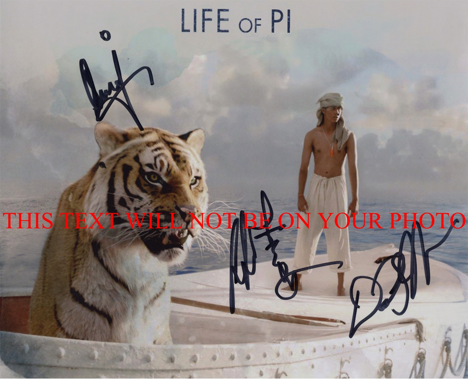 Life of pi cast signed autographed 8x10 photo ang lee for Life of pi book characters