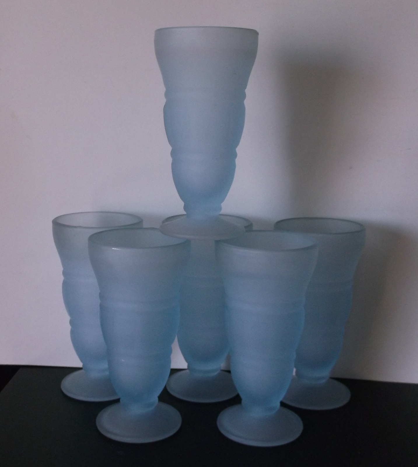 Vintage Indiana Blue Glasses Frosted Satin Fountain Ice