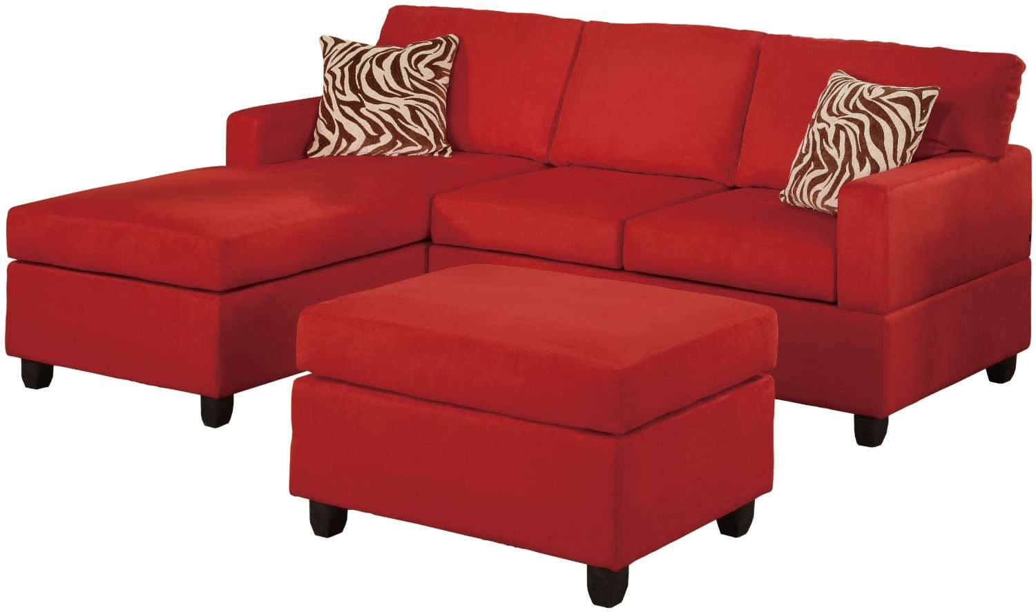 Microfiber Sectional Sofa Set 3 Piece Red Reversible