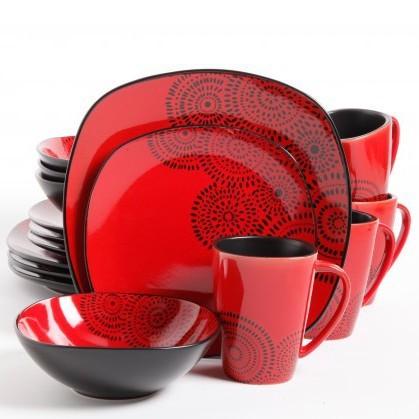 Red and black kasbar blossom 16 piece dinnerware set - Black and red dinnerware sets ...