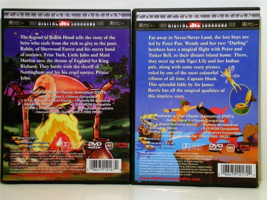 Image 1 of Robin Hood and Peter Pan Animated DVD Collector's Edition
