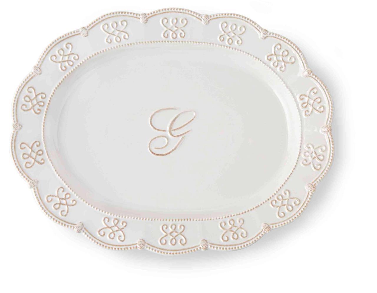 Ceramic white monogram initial oval serving platter mud pie fleur de lis 4071042 platters - Fleur de lis serving tray ...