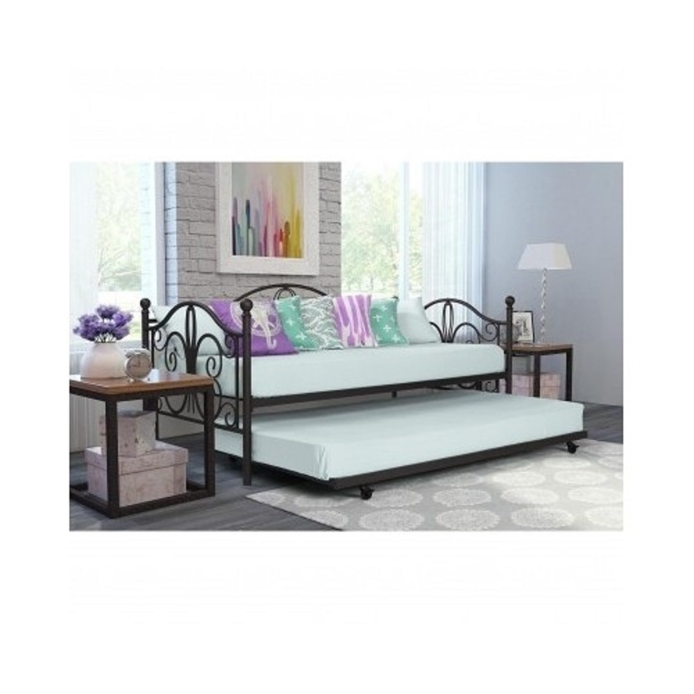 Bronze Finish Metal Daybed Roll Out Trundle Twin Frame