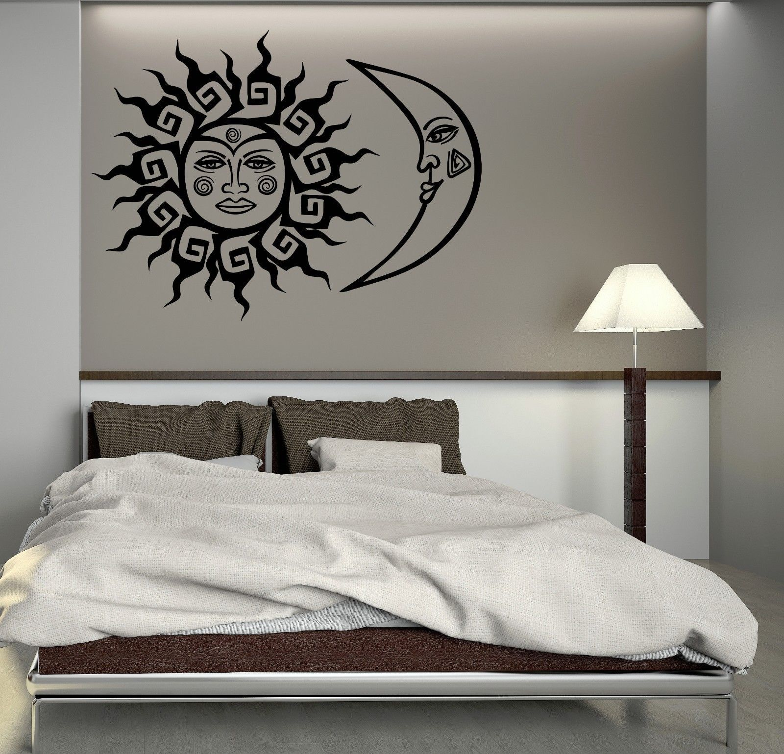 wall decal sun and moon fantastic bedroom decoration art vinyl stickers ig3037 decals. Black Bedroom Furniture Sets. Home Design Ideas