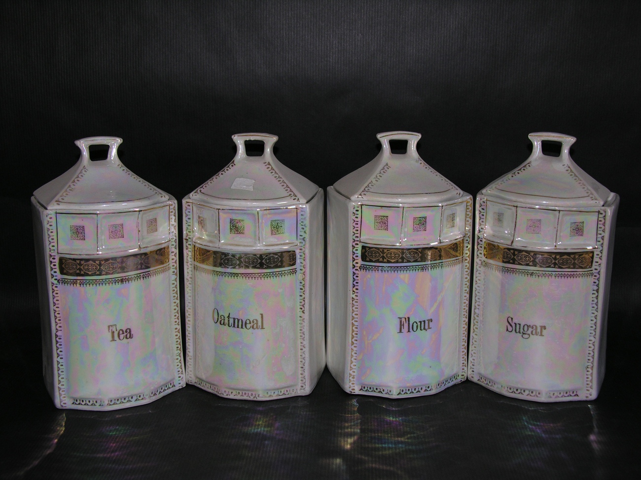 Vintage German White Block Pearl Lustre Canister Set c. 1930s