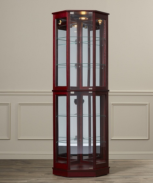Floor standing corner curio cabinet glass mirrored back for Floor standing mirrored bathroom cabinet