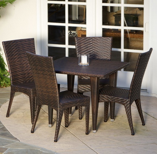 5 Piece Outdoor Dining Set Wicker 4 Chairs 1 Table