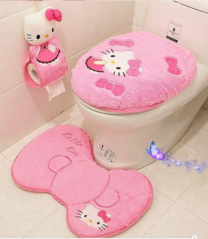4pcs/set Hello kitty bathroom set toilet set cover bath Free Shipping