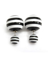 Candy Color Double Side Stripe Ear Stud Big Bead Earrings... - £1.63 GBP