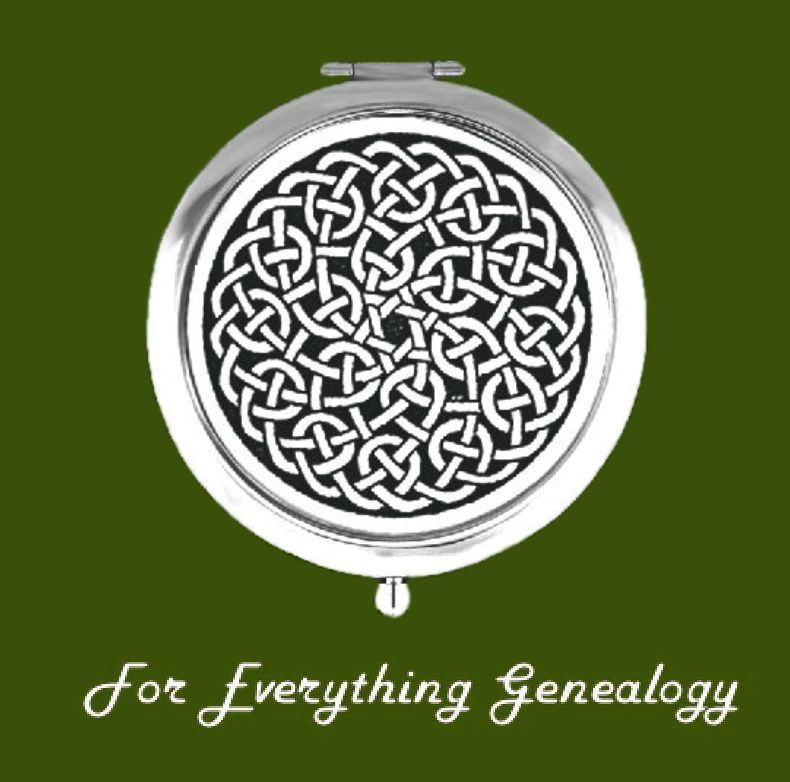 Celtic Spiral Knotwork Pewter Motif Chrome Plated Compact Mirror