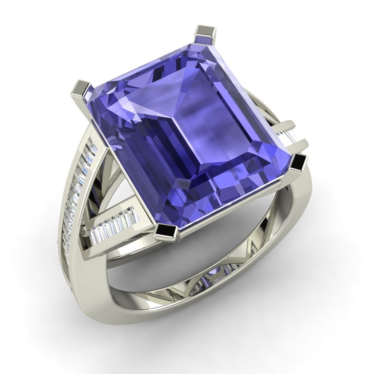 emerald cut tanzanite ring in 14k white gold with
