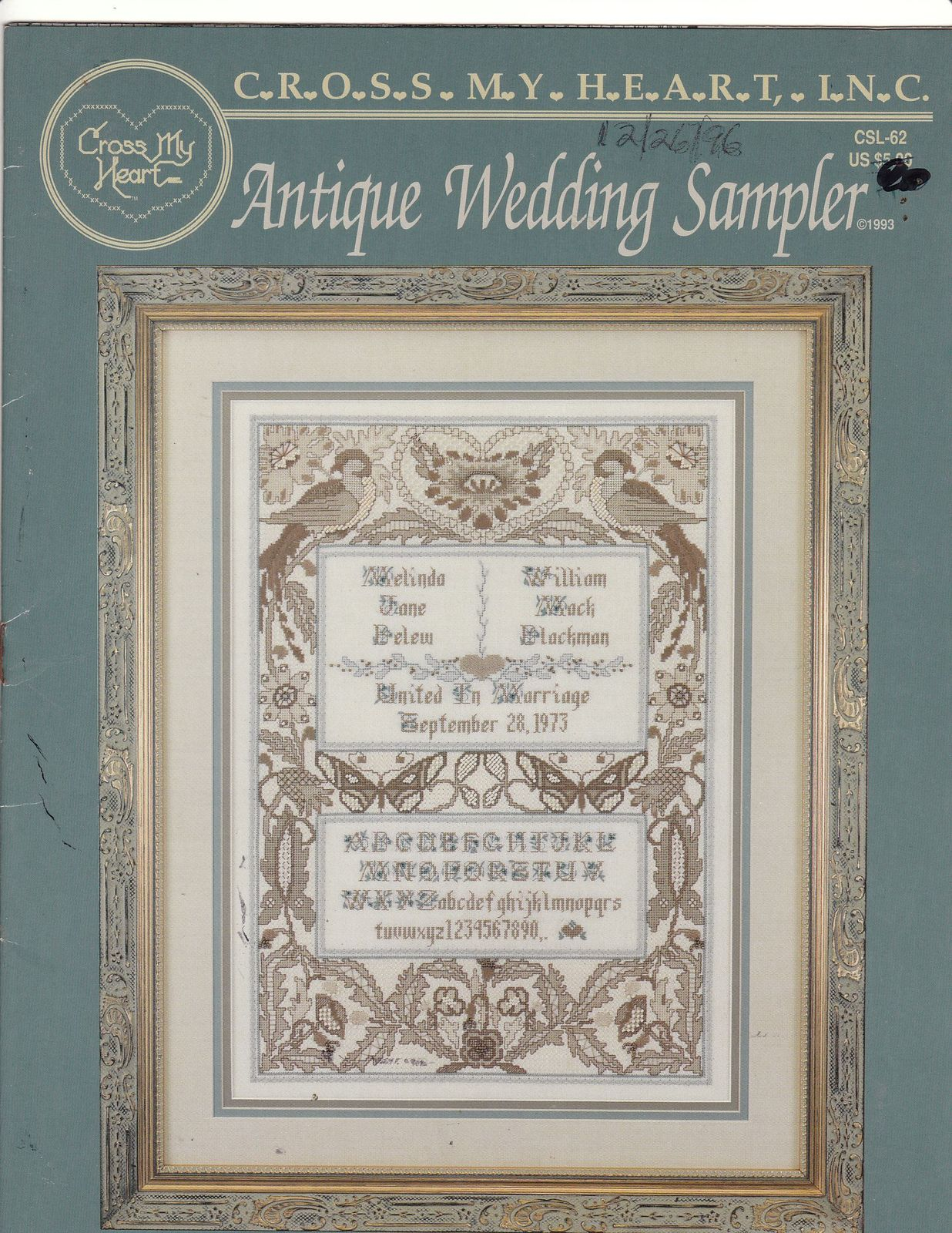 Antique wedding sampler cross stitch pattern my