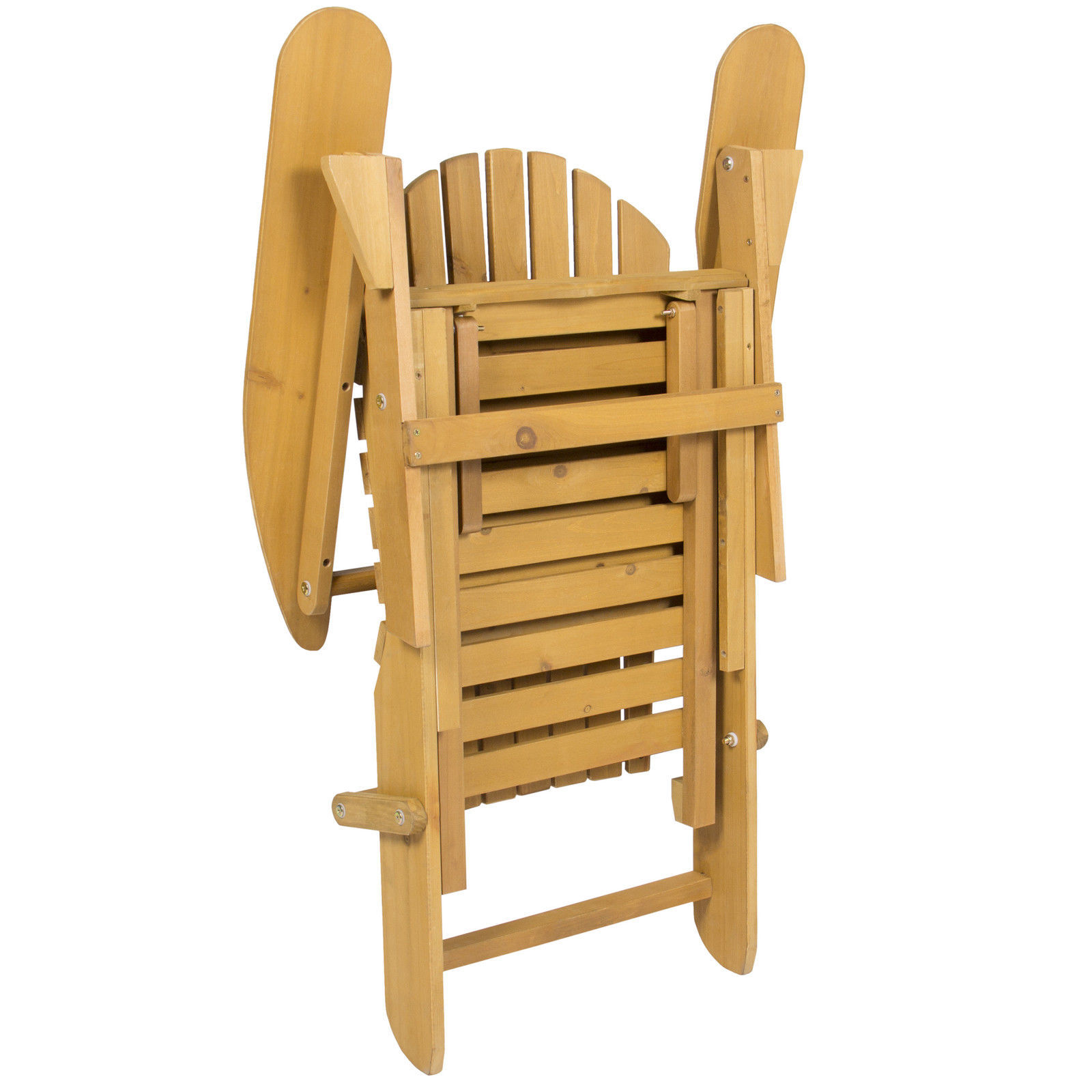 Outdoor Adirondack Wood Chair Foldable W Pull Out Ottoman