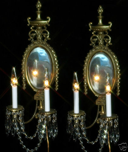 Candle Wall Sconces Nz : 2 Vintage Bronze Brass French Mirror Crystal Sconce candle lamps Antique old - Sconces