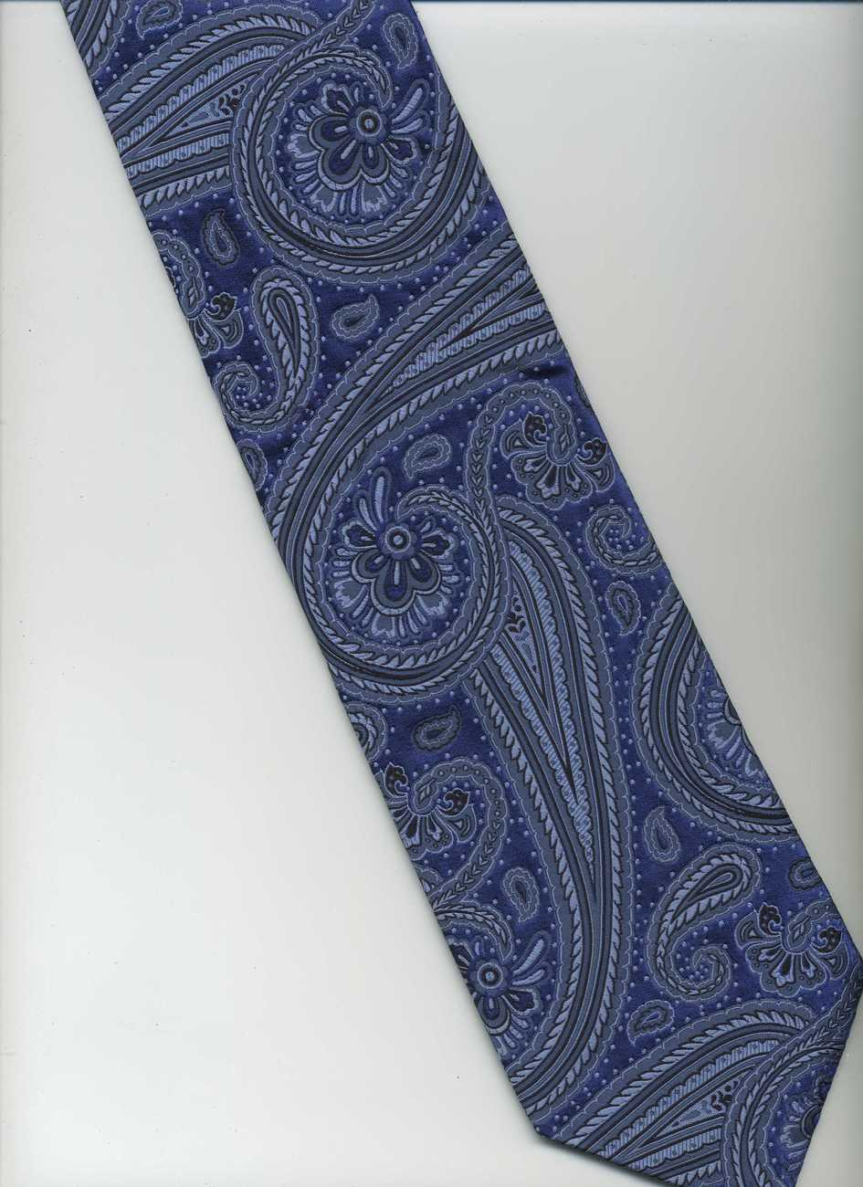Handmade XMI PLATINUM Tie ~ Blue, Light Blue, Dark Blue ~ Paisley, Italian Silk