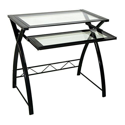 Tool Black Computer Desk Home Office Furniture Tempered Safety Glass