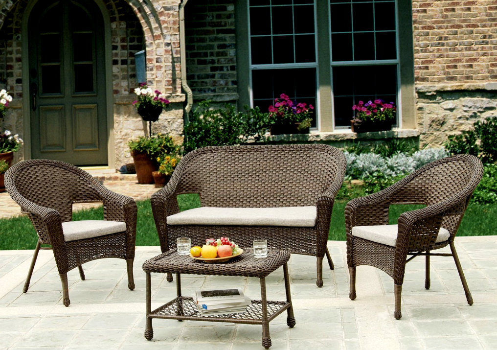 Outdoor Indoor 4 Piece Rattan Wicker Coffee Table Patio Set Patio Gar