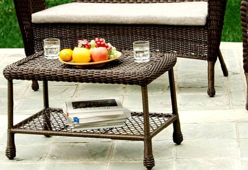 Outdoor Indoor 4 Piece Rattan Wicker Coffee Table Patio Set Patio Garden Furniture Sets