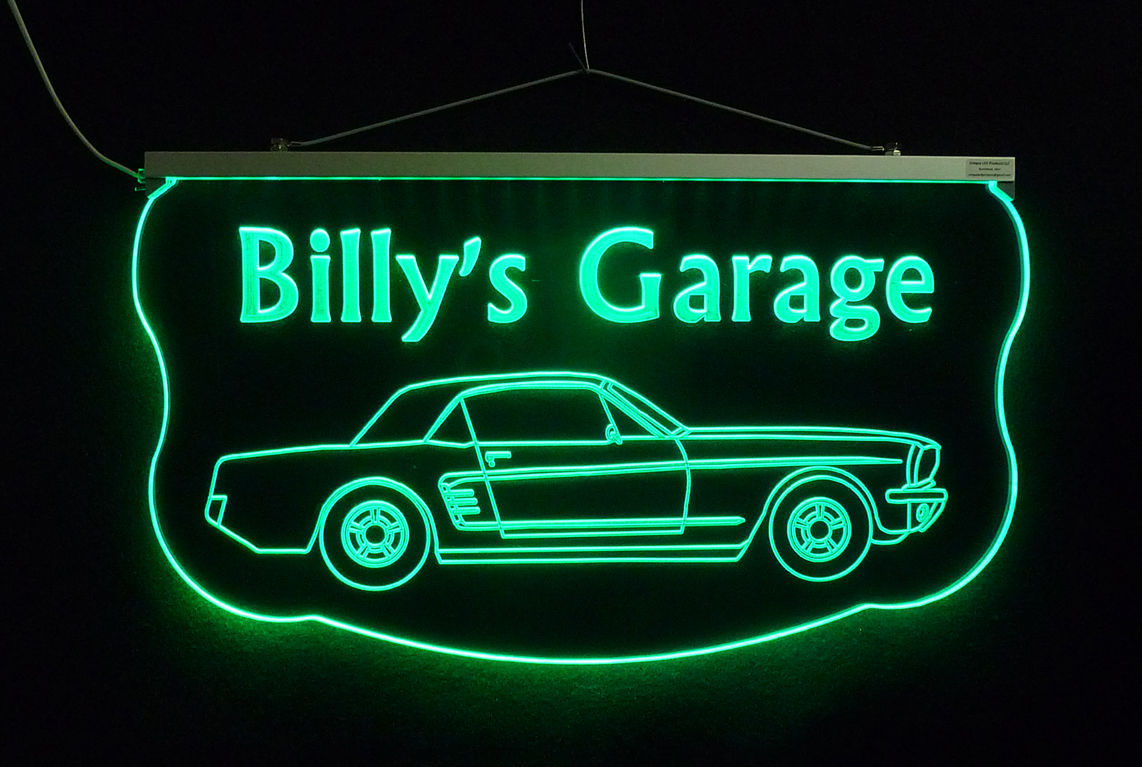 Man Cave Led Signs : Personalized led sign ford mustang man cave garage