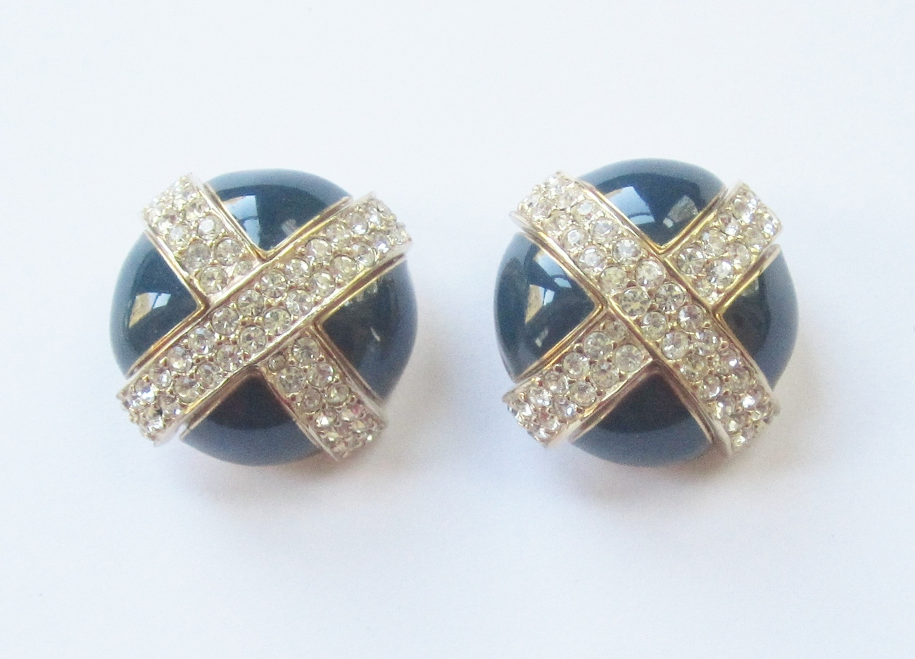 Navy Enamel & Pave Rhinestone X Earrings, by Ciner. c. 1970s.