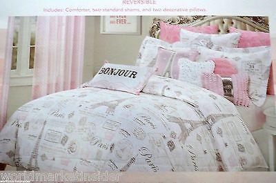 nicole miller full queen 5pc comforter set paris eiffel tower french girl pink comforters sets. Black Bedroom Furniture Sets. Home Design Ideas