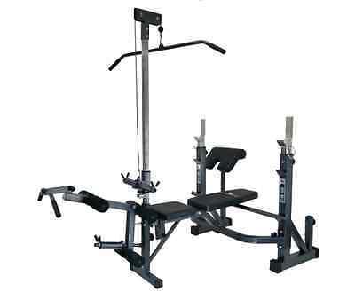 olympic weight bench set press rack exercise leg lift lat