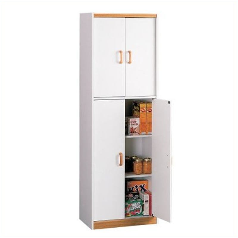 Food pantry cabinet with doors oak tall storage kitchen for Tall kitchen cabinets