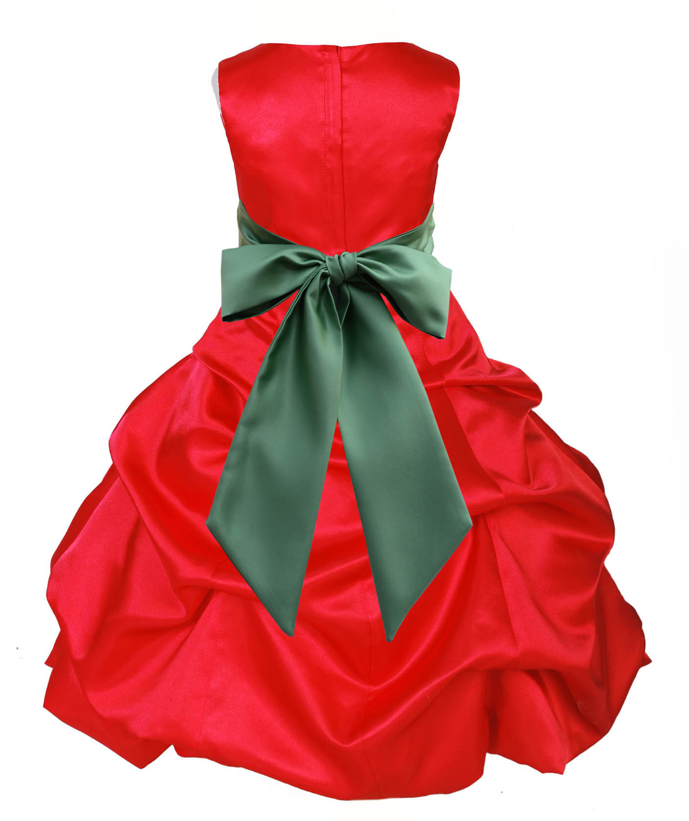 Satin red flower girl dress christmas pageant wedding bridesmaid new