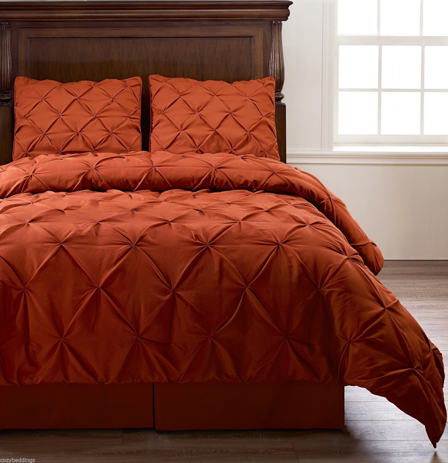 pinch pleat orange bedding 4 piece comforter set twin cal king size