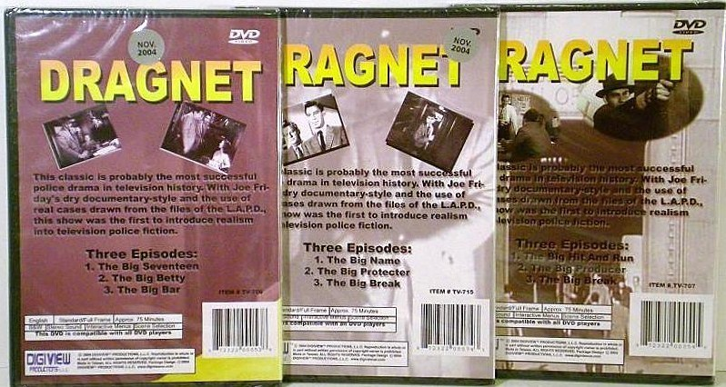 Image 1 of Dragnet Volumes 1,2,3 starring Jack Webb DVD Television series