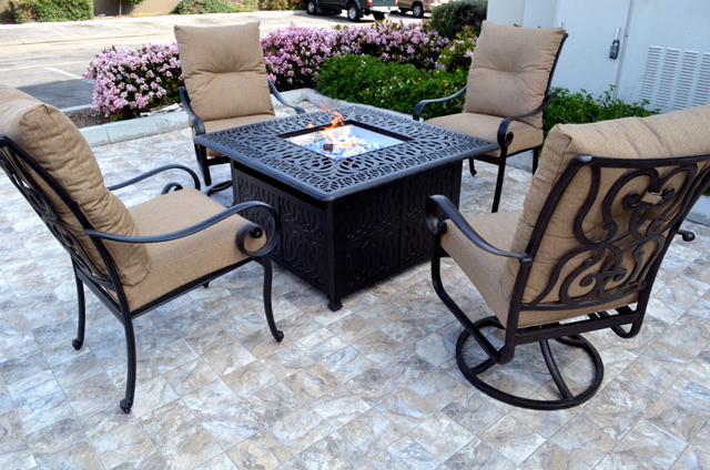 Conversation Patio Set Propane Fire Pit Table Outdoor Cast