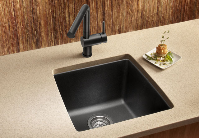 ECOSUS? Granite Composite Kitchen Bar Sink Single Bowl Undermount ...