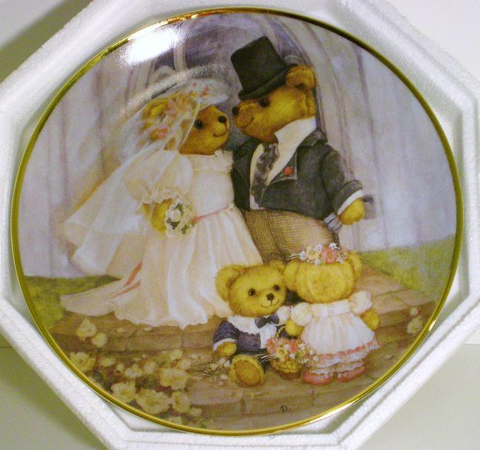 The Franklin Mint Teddy Bear Just Married Plate 1991