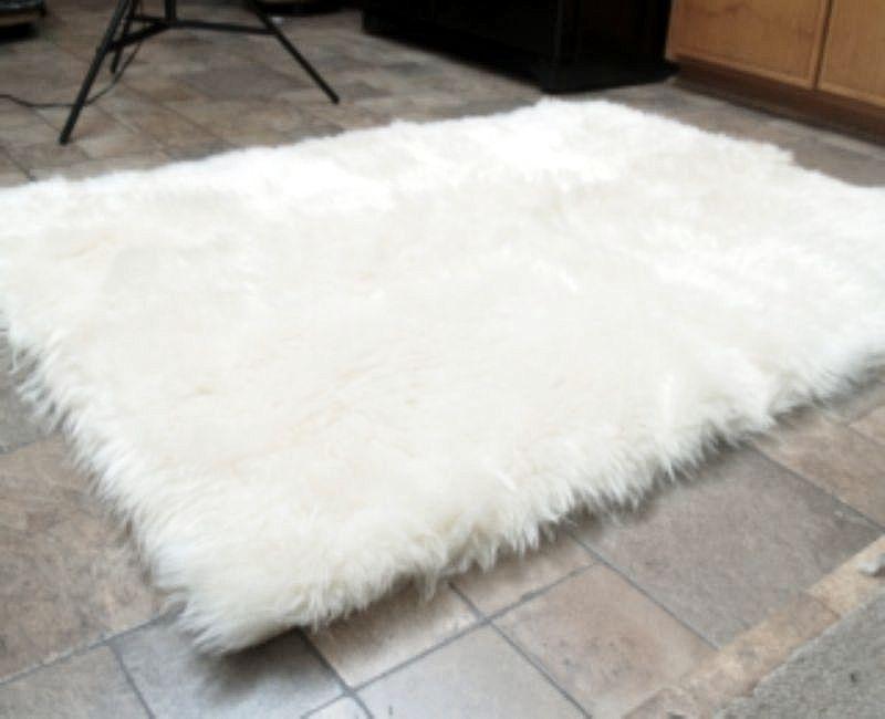 Faux Fur Area Rug White Large - Rugs u0026 Carpets