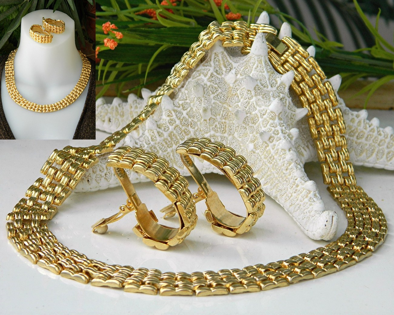 Vintage Collar Choker Necklace Earrings Gold Tone