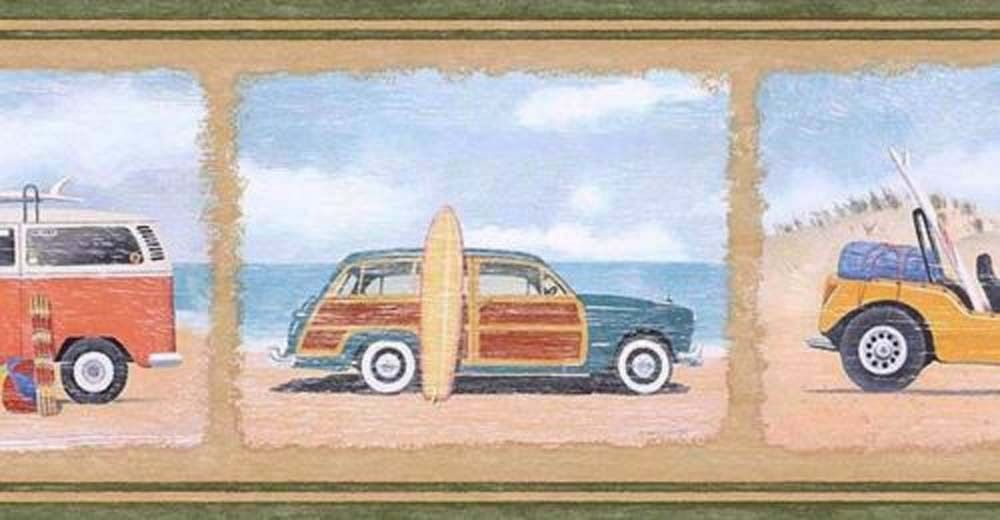 Surfing Beach  Dune Buggy  VW Van  Ford Woody Wagon  Wallpaper Border PB5800  Wallpaper Borders