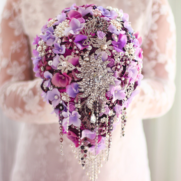 Wedding Brooch Bouquet Nz : Purple hydrangea bridal brooch bouquet custom luxury
