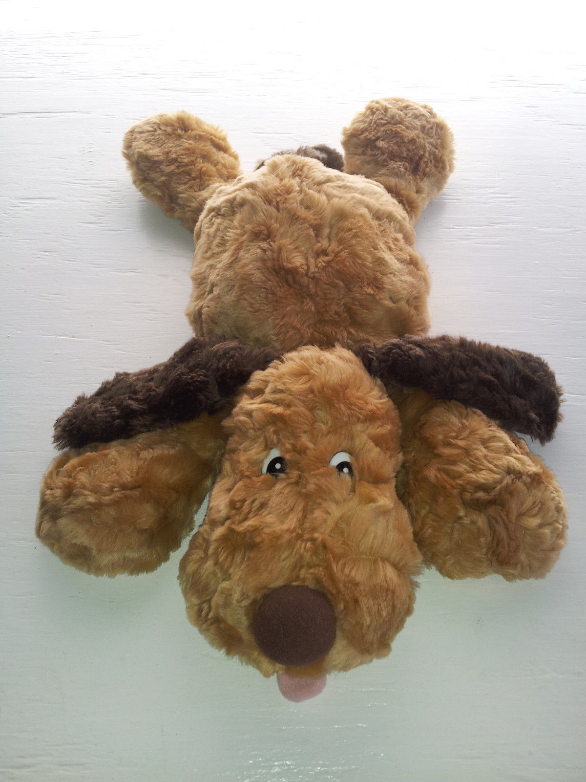 "Chosun Puppy Dog Light & Dark Brown Laying Tongue Out Soft Plush Bean Bag 16"""
