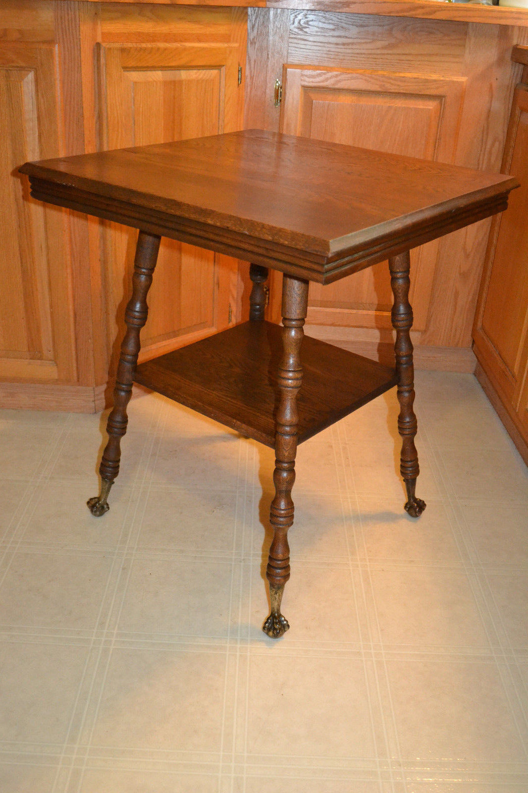 Antique Oak Table ~ Antique victorian oak brass ball claw foot end side table