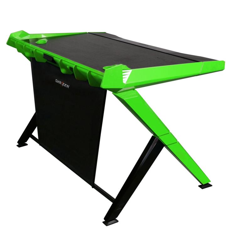 dxracer gd1000ne gaming desktop desk computer desks gaming table black green desks. Black Bedroom Furniture Sets. Home Design Ideas
