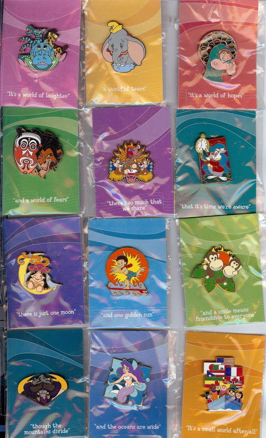 Disneyana 2000 Small World 12 w/ Backer Cards pin/pins