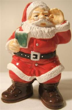 2002 Coca Cola Santa with Puppy Ceramic Salt and Pepper Shaker Set CHRISTMAS