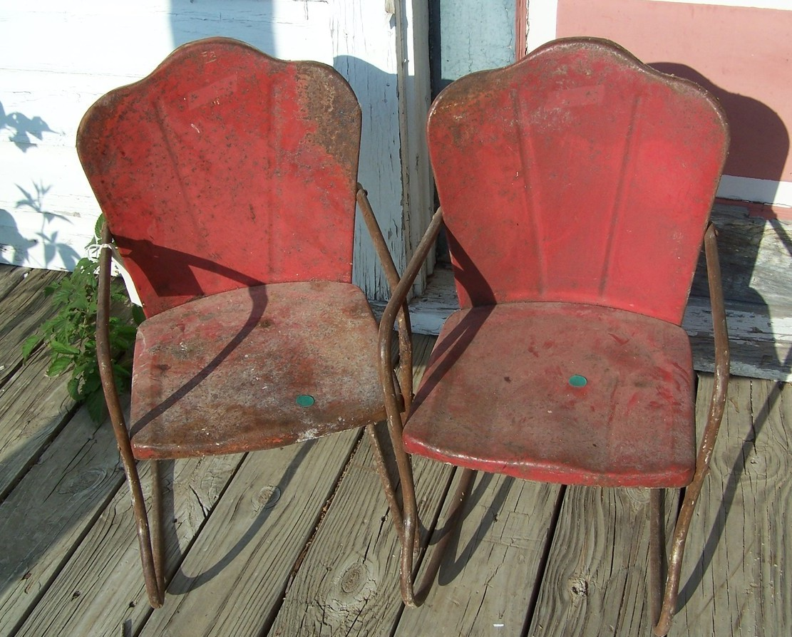 Pair Of Vintage Childrens Metal Yard Chairs Rocker 1940s