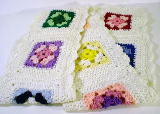 Image 1 of Crocheted Scarf hand made white trim multicolored squares