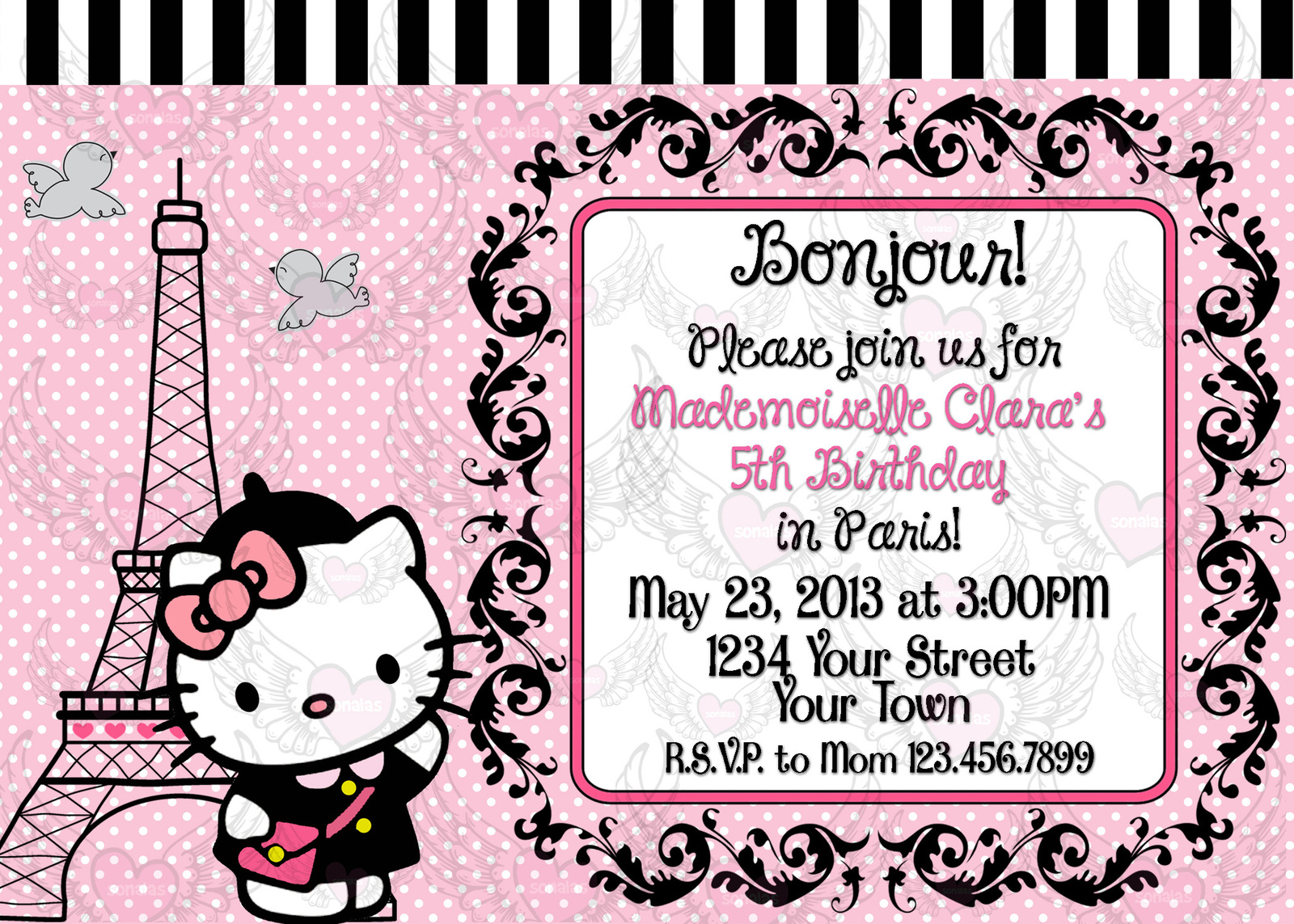 Hello Kitty Parisian Paris Girl Invitation and 50 similar items: https://www.bonanza.com/items/like/128309101/Hello-Kitty-Parisian...