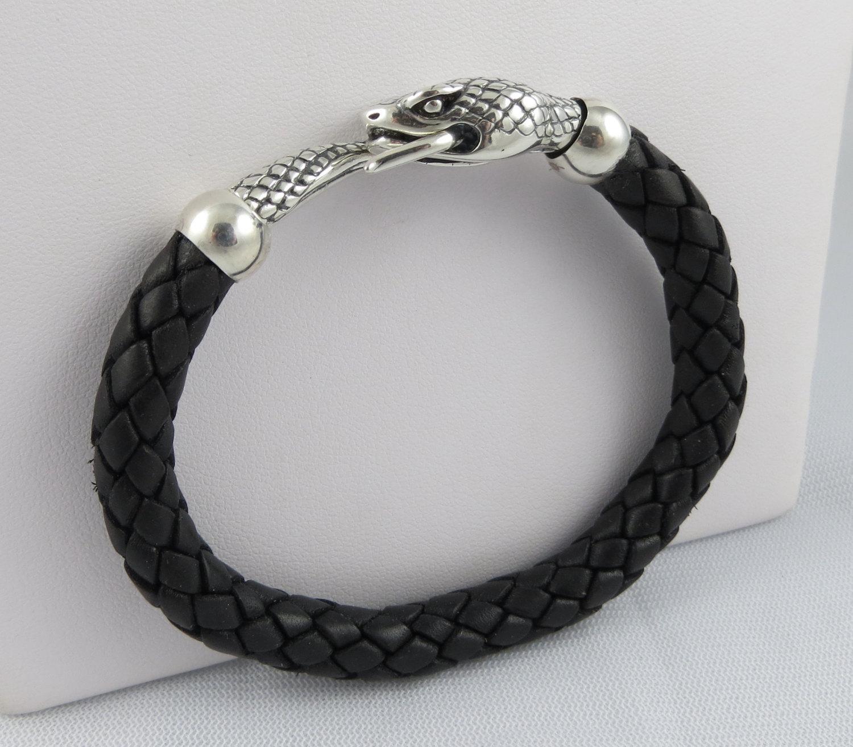 mens bracelet leather with sterling silver snake gifts. Black Bedroom Furniture Sets. Home Design Ideas