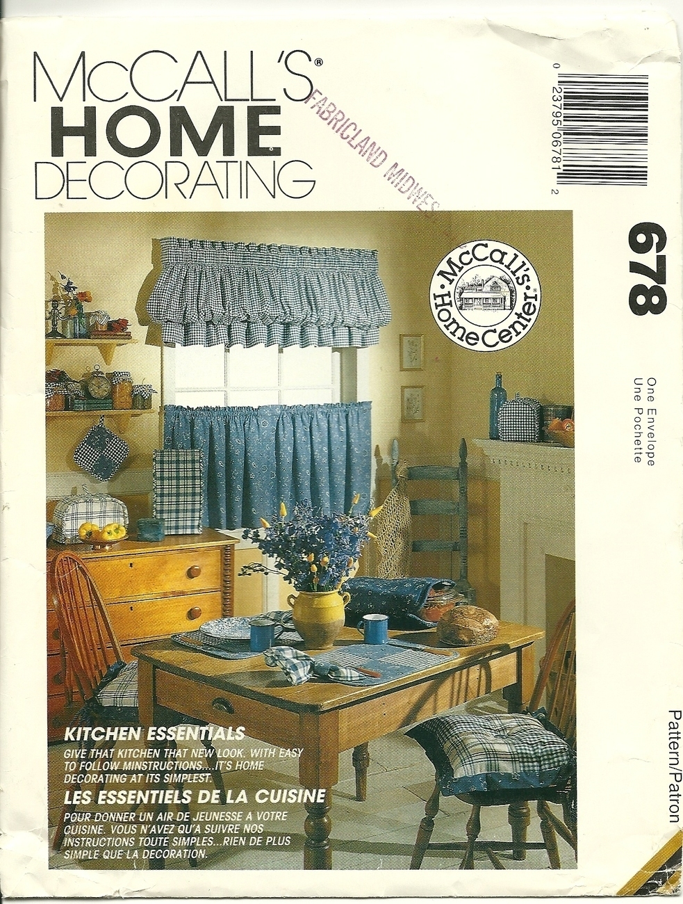 Mccall 39 S Sewing Pattern 678 Kitchen Accessories Home Decor New Uncut Sewing Patterns