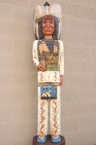 Native American 6 Ft Carved Wooden Cigar Store Indian